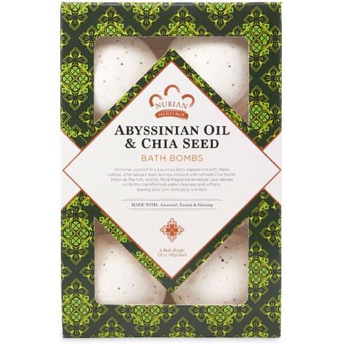 NUBIAN HERITAGE - ABYSSINIAN OIL & CHIA SEED BATH BOMBS - 6PCS