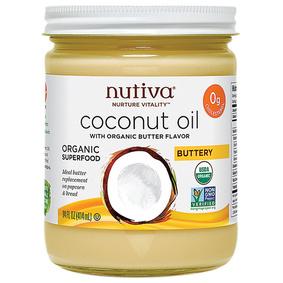 NUTIVA - ORGANIC COCONUT OIL - NON GMO - VEGAN - GLUTEN FREE - (Butter Flavor) - 14oz