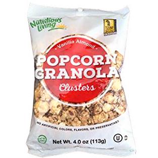 NUTRITIOUS LIVING - POPCORN GRANOLA - (Vanilla Almond clusters) - 4oz