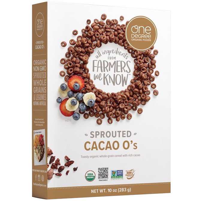 ONE DEGREE - ALL INGREDIENTS FROM FARMERS WE KNOW - NON GMO - (Cacao O's) - 8oz