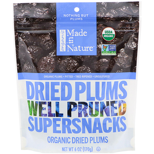 ORGANIC MADE IN NATURE - DRIED PLUMS WELL PRUNED SUPERSNACKS - 6oz