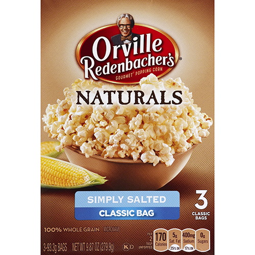 ORVILLE REDENBACHERS - NATURALS GOURMET POPPING CORN - (Simply Salted) - 9.87oz
