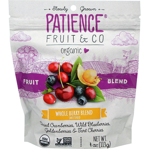 PATIENCE FRUIT & CO - ORGANIC FRUIT BLEND (Whole Berry Blend Sweetened) - 4oz
