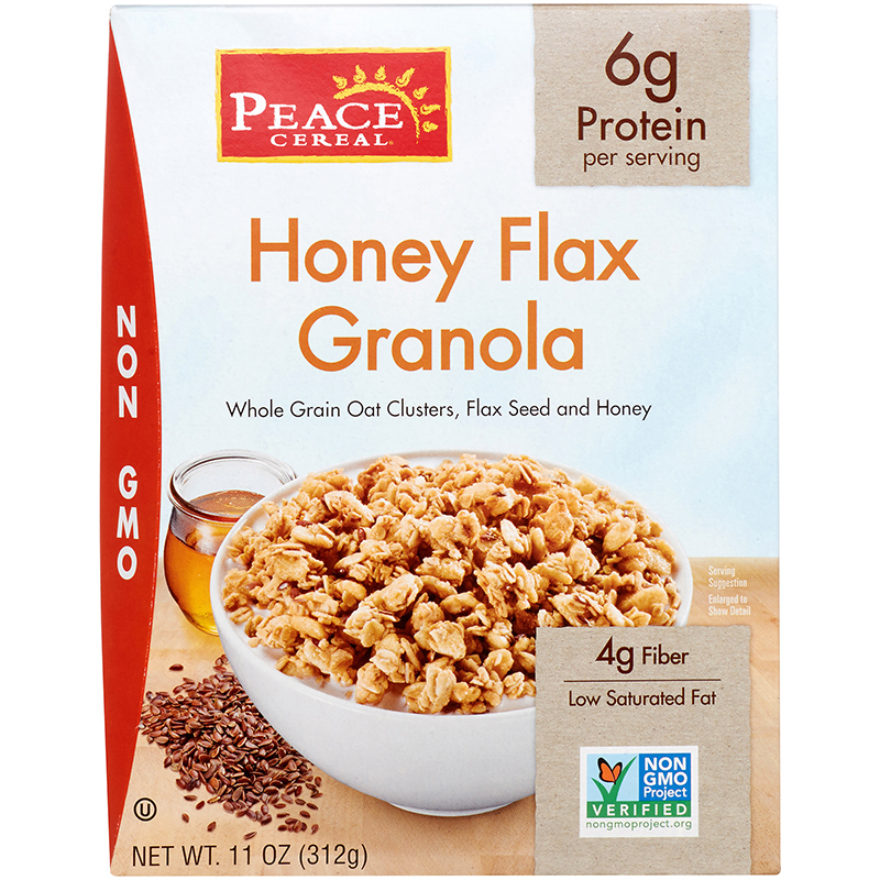 PEACE CEREAL - HONEY FLAX GRANOLA - NON GMO - 11oz