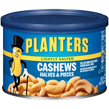 PLANTERS - CASHEWS HALVES & PIECES - (Lightly Salted) - 8oz