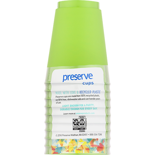 PRESERVE CUPS - RECYCLED PLASTIC BPA FREE - 10 CUPS