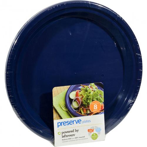 "PRESERVE - RECYCLED PLASTIC 8 LARGE 10.5"" PLATES - (Mid Night Blue) - 8 PCS"