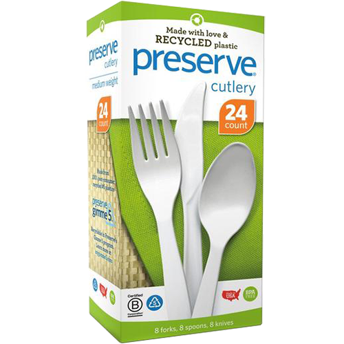 PRESERVE - RECYCLED PLASTIC CUTLERY (8 FORKS, 8 SPOONS, 8 KNIVES) - 24counts