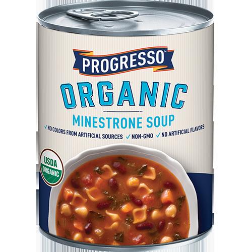 PROGRESSO - ORGANIC MINESTRONE SOUP - NON GMO - 14.3oz