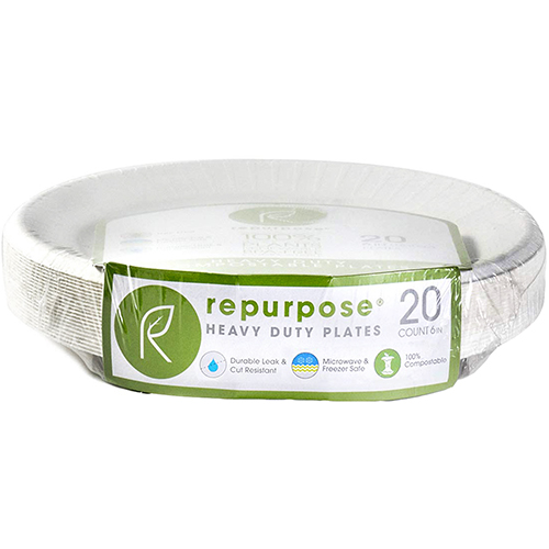 "REPURPOSE - 6"" HEAVY DUTY COMPOSTABLE PLATES - 20counts"