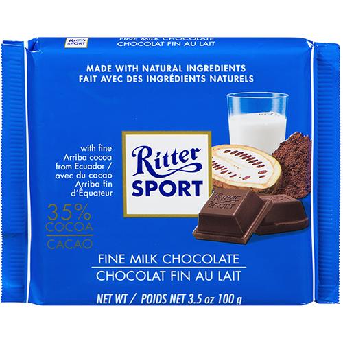 RITTER SPORT - MILK CHOCOLATE - (35% Cocoa) - 3.5oz
