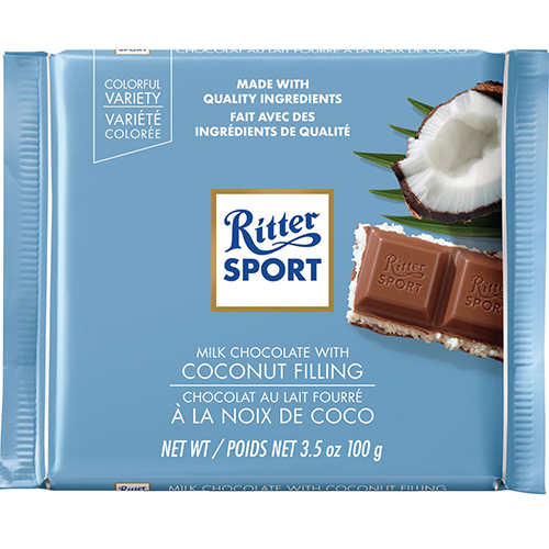 RITTER SPORT - MILK CHOCOLATE - (Coconut) - 3.5oz