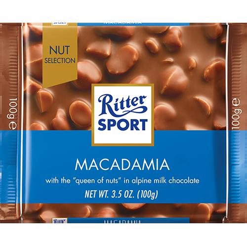 RITTER SPORT - MILK CHOCOLATE - (Macadamia) - 3.5oz