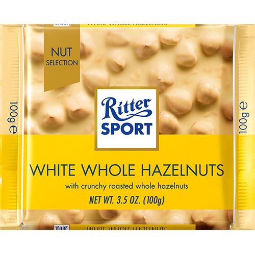 RITTER SPORT - WHITE  CHOCOLATE - (Whole Hazelnuts) - 3.5oz