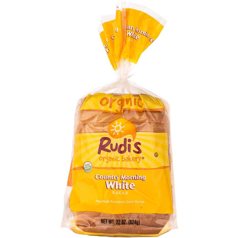 RUDI'S BAKERY - COUNTRY MORNING WHITE BREAD - DAIRY FREE - NON GMO - 22oz