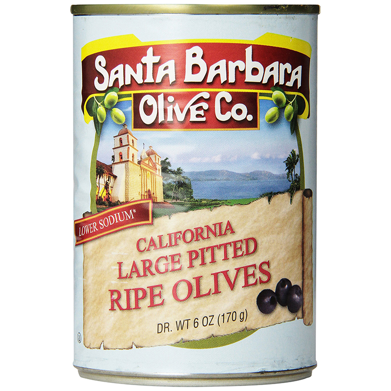 SANTA BARBARA OLIVE CO. - CALIFORNIA LARGE PITTED PIPE OLIVES - 6oz