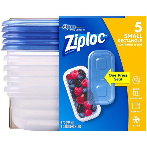 SC JOHNSON - ZIPLOC 5 SMALL RECTANGLE - 8oz 5 Containers&Lids