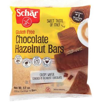 SCHAR - GLUTEN FREE CHOCOLATE HAZELNUT BARS - NON GMO - GLUTEN FREE - 3.7oz(3Bars)