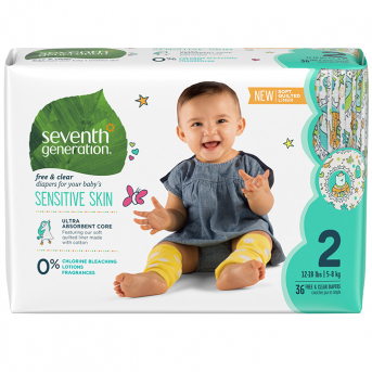 SEVENTH GENERATION - STAGE 2 BABY DIAPERS - (Sensitive Skin) - 36PCS