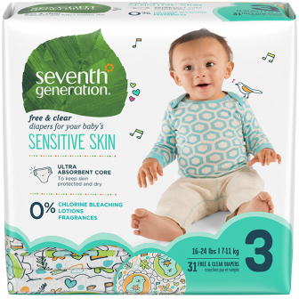 SEVENTH GENERATION - STAGE 3 BABY DIAPERS - (Sensitive Skin) - 31PCS