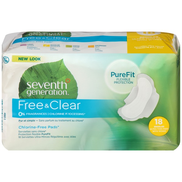 SEVENTH GENERATION - FREE & CLEAR CHLORINE FREE PADS - (Regular Ultra-Thin Pads /w Wings) - 18pads