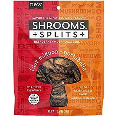 SHROOMS - SPLITS BEEF JERKY + MUSHROOM JERKY - (Filet Mignon + Portabella) - 2.5oz