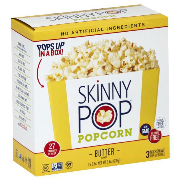 SKINNYPOP - POPCORN - NON GMO - GLUTEN FREE - (Butter) - 8.4oz(3PACK)