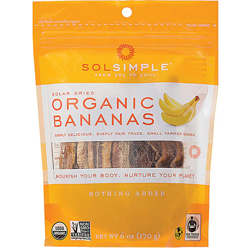 SOL SIMPLE - SOLAR DRIED ORGANIC BANANAS - 6oz
