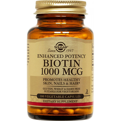 SOLGAR - ENHANCED POTENCY BIOTIN 1000 MCG - 100 VEGE CAPTULES