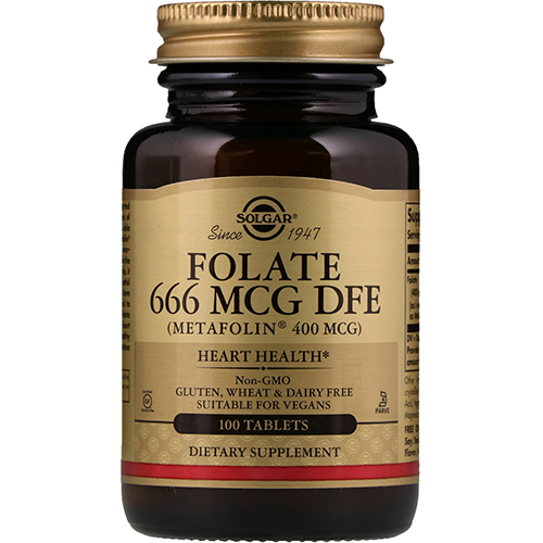 SOLGAR - FOLATE 666 MCG DFE (400 MCG FOLIC ACID) - 100TABLETS