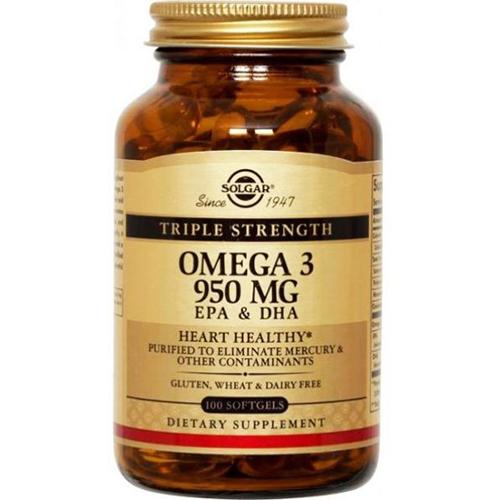 SOLGAR - OMEGA 3 950MG EPA & DHA HEART HEALTHY - 100SOFTGELS