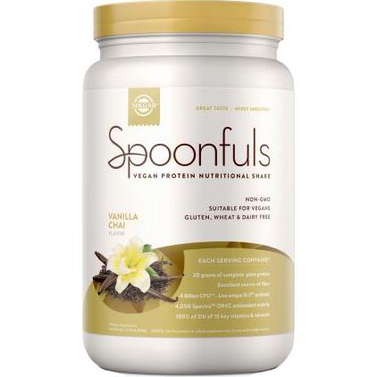 SOLGAR - SPOONFULS VEGAN PROTEIN NUTRITIONAL SHAKE - NON GMO-GLUTEN FREE - (Vanilla Chai) - 20.24oz