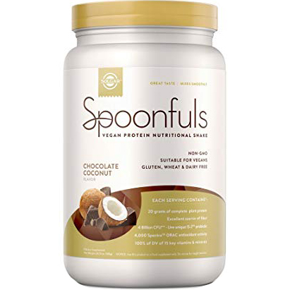 SOLGAR - SPOONFULS VEGAN PROTEIN NUTRITIONAL SHAKE -NON GMO-GLUTEN FREE- (Chocolate Coconut) - 20.24