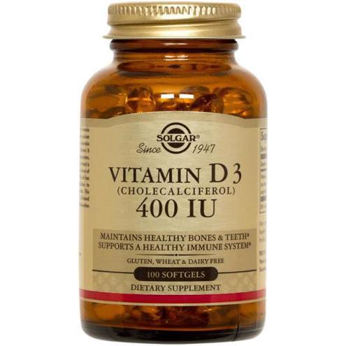 SOLGAR - VITAMIN D3 (CHOLECALCIFEROL) 400IU - 100SOFTGELS