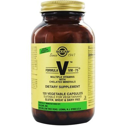 SOLGAR - VM-75 MULTIPLE VITAMINS WITH CHELATED MINERALS - 120 VEGE CAPSULES