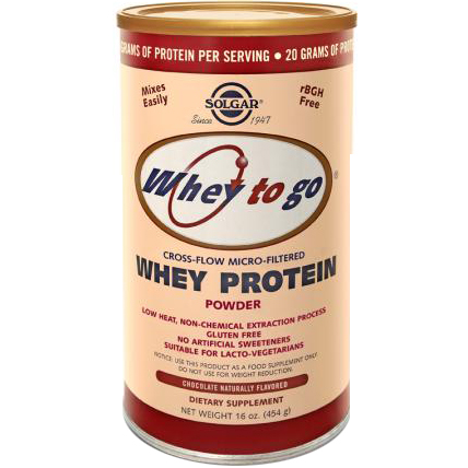 SOLGAR - WHEY TO GO - WHEY PROTEIN POWDER - (Chocolate) - 16oz