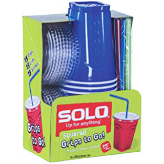 """SOLO - 9oz SQUARED """"GRIPS TO GO!"""" PLASTIC CUPS - (Blue) - 15 CUPS"""