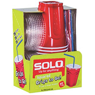 """SOLO - 9oz SQUARED """"GRIPS TO GO!"""" PLASTIC CUPS - (Red) - 15 CUPS"""
