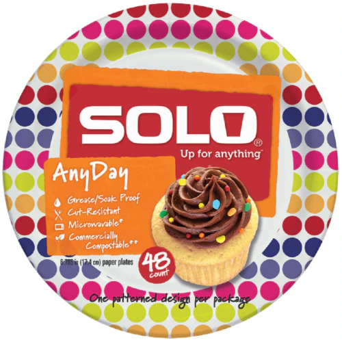 """SOLO - ANYDAY 6.7"""" PAPER PLATES - 48counts"""