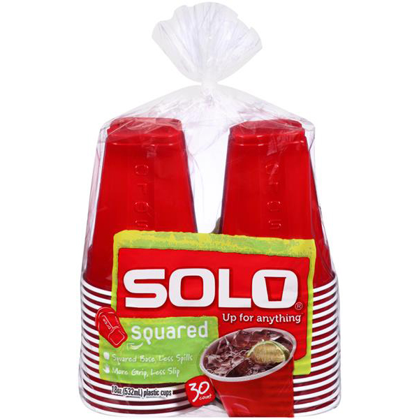 SOLO - SQUARED 18oz PLASTIC CUP (Red)- 30 CUPS