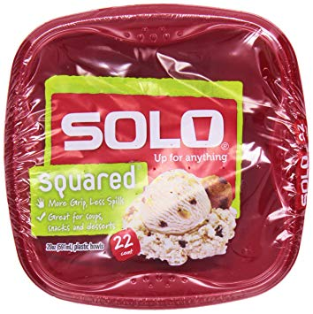 SOLO - SQUARED 20oz PLASTIC BOWLS - 22counts