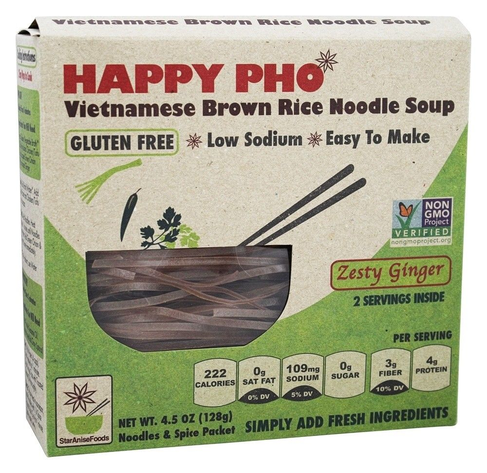 STAR ANISE FOODS - HAPPY PHO - VIETNAMESE BROWN RICE NOODLE SOUP - GLUTEN FREE - NON GMO - 4.5oz