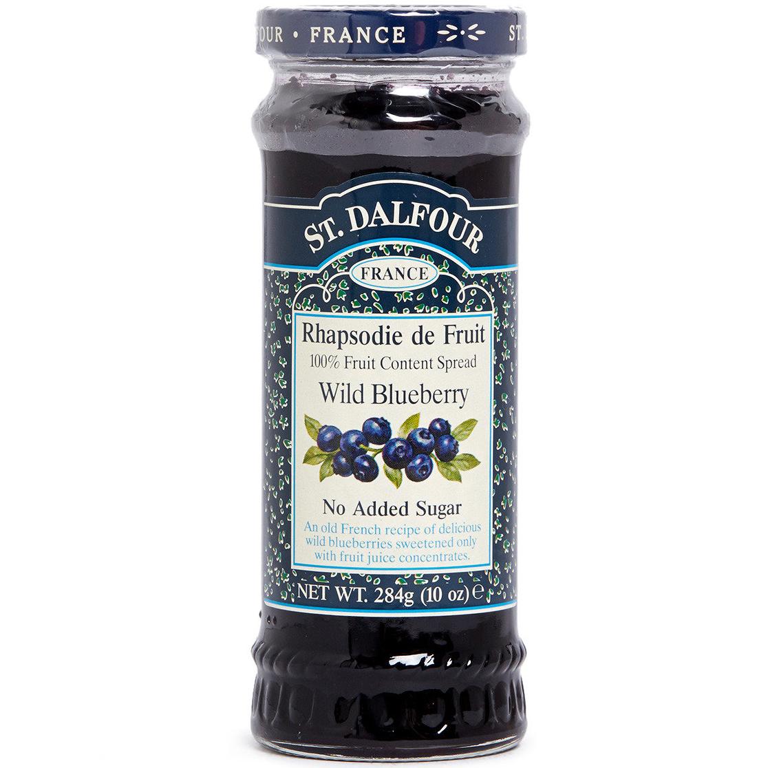 ST.DALFOUR - FRANCE WILD BLUEBERRY 100% FRUIT - NATURAL - NO SUGAR - NON GMO - 10oz
