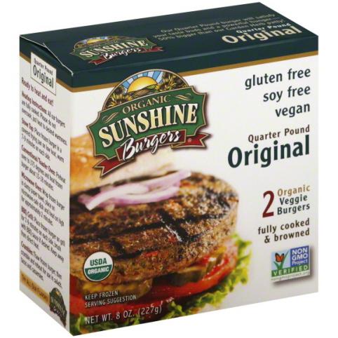 SUNSHINE - BURGERS - NON GMO - GLUTEN FREE - VEGAN - (Original) - 8oz