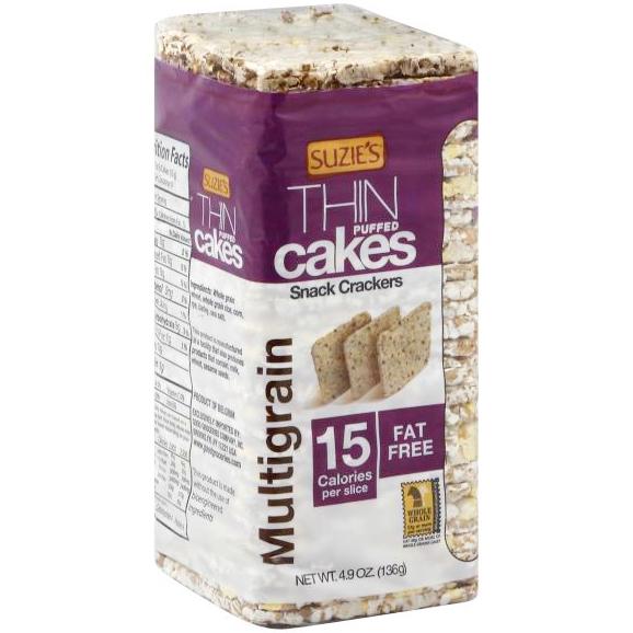 SUZIE'S - ORGANIC THIN PUFFED CAKES - MULTIGRAIN 15 Calories per slice - 4.9oz