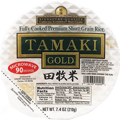 TAMAKI GOLD - FULLY COOKED PREMIUM SHORT GRAIN RICE - 7.4oz