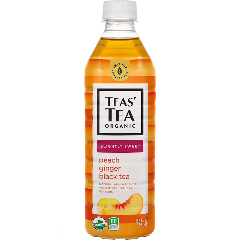 TEAS' TEA ORGANIC - (Peach Ginger Black Tea | Slightly Sweet) - 16.9oz