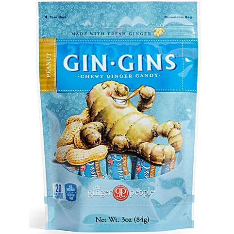 THE GINGER PEOPLE - GIN GINS CHEWY GINGER CANDY - NON GMO - GLUTEN FREE - (Peanut) - 3oz