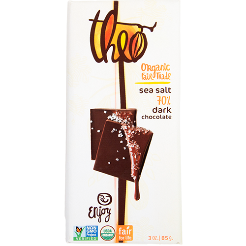 THEO - ORGANIC FAIR TRADE CHOCOLATE BAR - (Sae Salt 70% Dark) - 3oz