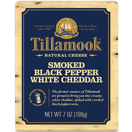 TILLAMOOK - SMOKED BLACK PEPPER WHITE CHEDDAR NATURAL CHEESE - 7oz